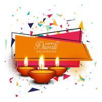 Happy diwali diya oil lamp festival card background illustration