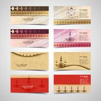 Happy diwali diya oil lamp festival business card set design