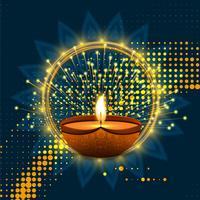 Happy diwali diya oil lamp festival background illustration