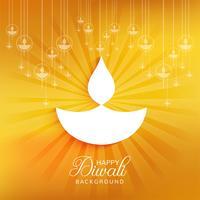 Elegante Gelukkige Diwali decoratieve achtergrond met stralen