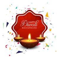 Beautiful greeting card for festival happy diwali background vec