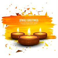 Happy diwali diya oil lamp festival card background vector