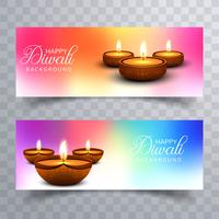 Happy diwali diya oil lamp festival headers set design