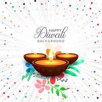 Illustrazione felice del fondo di festival della lampada a olio di Diya di diwali