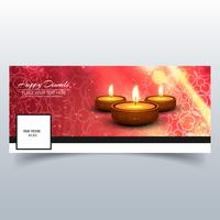 Beautiful Happy diwali diya oil lamp festival facebook cover des