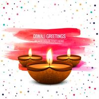 Happy diwali diya oil lamp festival shiny background