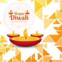 Modern Happy Diwali decorative background with polygon