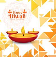Modern Happy Diwali decorative background with polygon