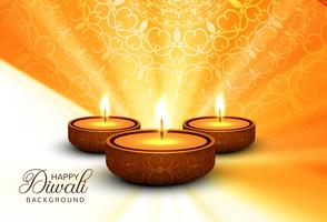 Happy Diwali Holiday background illustration of burning diya