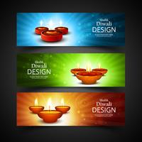 Happy diwali diya oil lamp festival header set template design