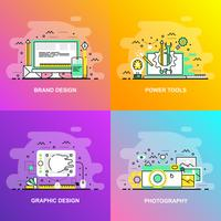 Modern smooth gradient flat line concept web banner of Photography, Graphic Design, Power Tools and Brand Design