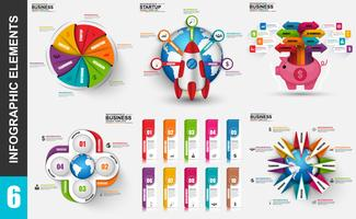 Set of presentation business 3d infographics vector design template.