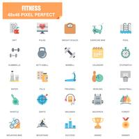 Simple Set of Fitness Related Vector Flat Icons