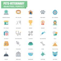 Simple conjunto de mascotas y veterinaria relacionados con iconos planos vectoriales