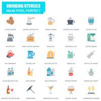 Conjunto simples de utensílios de bebidas relacionados ícones plana de vetor