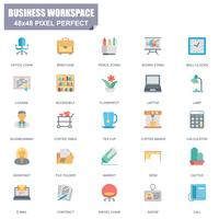 Simple Set of Business Workspace Related Vector Flat Icons
