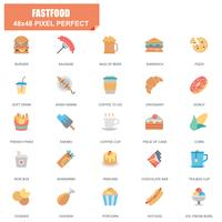 Conjunto simple de iconos planos relacionados con Fastfood Vector