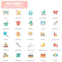 Ensemble simple de bébé éléments associés Vector Icons plats