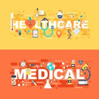 Medical and healthcare set of flat concept