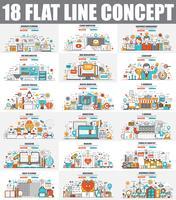 Modern set of flat line concept web banner of Cloud Computing, E-Banking, E-Commerce, Marketing, Teamwork, Education, Development