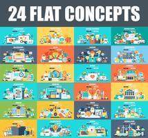 Modern set of flat concept web banner of Cloud Computing, E-Banking, E-Commerce, Marketing, Teamwork, Education, SEO, Development