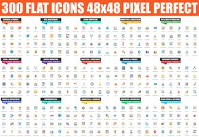 Conjunto simple de icono plano vector. Pack de pictogramas lineales. 48x48 Pixel Perfect.
