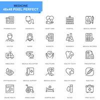 Enkel uppsättning sjukvård och medicinlinjeikoner för webbplats- och mobilapps