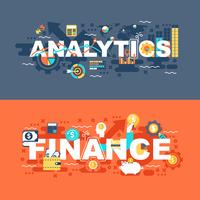 Analytics en finance set van platte concept