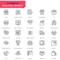 Conjunto sencillo de iconos de línea de comercio electrónico y compras para aplicaciones web y móviles