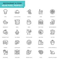 Simple Set Restaurant and Food Line Icons for Website and Mobile Apps