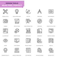 Simple Set Design Tools Line Icons for Website and Mobile Apps