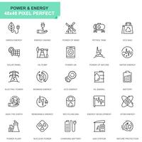 Simple Set Power Industry och Energy Line Icons för webbplats och mobilappar