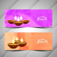 Happy Diwali watercolor banner set