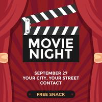 Movie Night Poster Mockup Vector