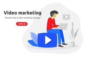 Social video marketing concept modern flat design. Video blogger