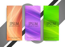 Abstract stylish wavy banners set