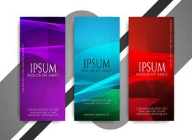 Abstract bright colorful wavy banners set