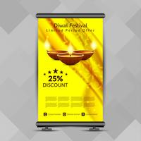 Abstract Happy Diwali roll up banner design template