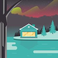 Modern Wood Cabin Vector Design