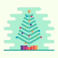 Christmas Tree With Garland, Bells, Gifts And A Star On Top Vector Illustration