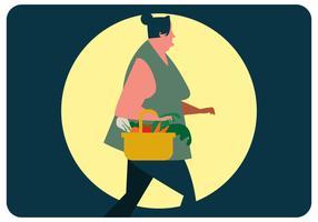 Woman Buy Grocery Vector