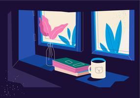 Ausgaben-Zeit in der Winter-gemütlichen Einstellungs-Hintergrund-Vektor-flachen Illustration
