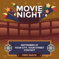 Movie Night Festive Poster Vector