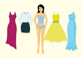 Vintage Paper Dolls Illustration