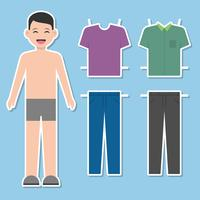 Paper Doll Man Template Vector Illustration