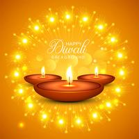 Celebration Happy Diwali decorative oil lamp background vector
