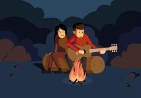 Music Around Campfire Vector Illustration
