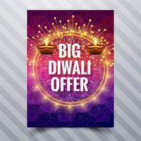 Vacker lycklig diwali diya oljelampa festival mall broschyr