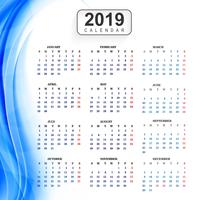 Calendar 2019 Template with wave background vector