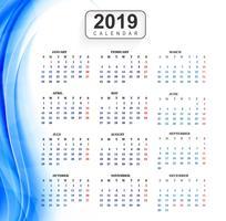 Kalender 2019 Sjabloon met golf achtergrond